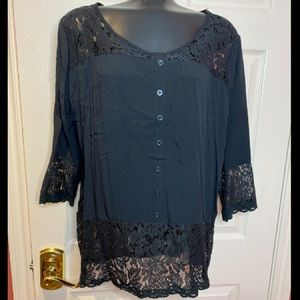 Black 3/4 Length Sleeve Lace Tunic NEW